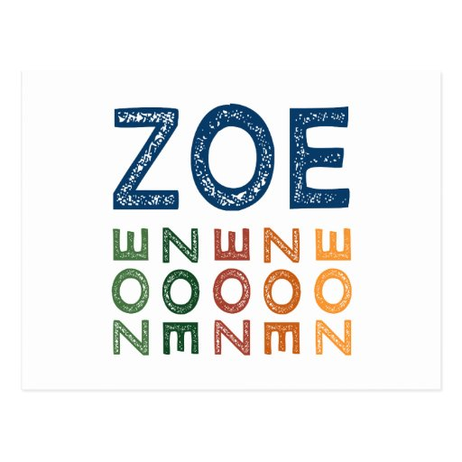 Zoe-niedliches buntes postkarte