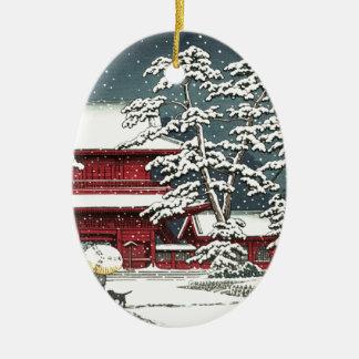 """Zojoji im Schnee"" durch Kawase Hasui 川瀬巴水 Keramik Ornament"