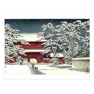 """Zojoji im Schnee"" durch Kawase Hasui 川瀬巴水 Postkarte"
