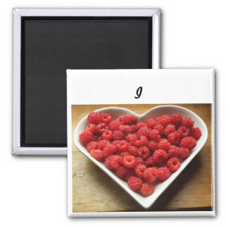 Zoll-Quadratmagnet der Himbeeren -2 der Liebe I Quadratischer Magnet