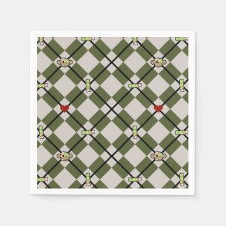 Zombie-Affe-Rauten-Serviette II Papierserviette