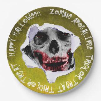 Zombie-Apokalypse-Halloweenbeängstigender Pappteller