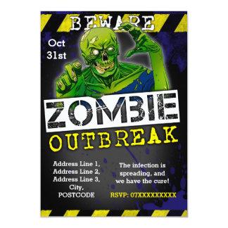 Zombie-Ausbruch-Halloween-Party laden Gewohnheit 12,7 X 17,8 Cm Einladungskarte