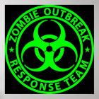 Zombie-Ausbruch-Warteteam-Neon-Grün Poster