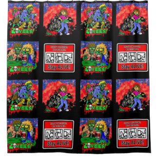 Zombie-Cartoon-Muster Duschvorhang