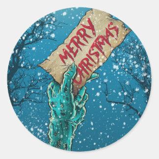 Zombie-frohe Weihnacht-Feiertag Runder Aufkleber