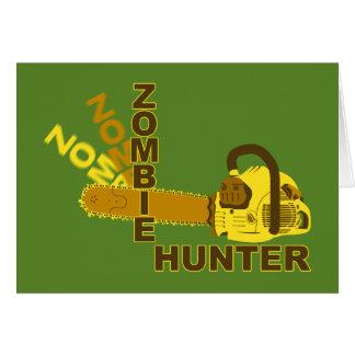 Zombie-Jäger-Gruß-Karte (grüner Hintergrund) Karte