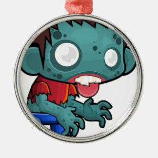 Zombie-Jungen-Comic Rundes Silberfarbenes Ornament