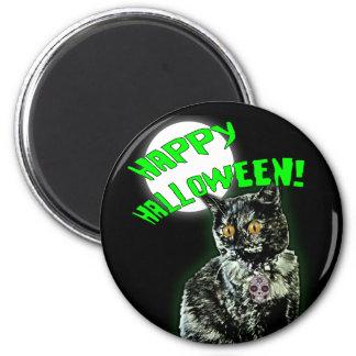 Zombie-Katzen-glücklicher Halloween-Magnet Runder Magnet 5,7 Cm