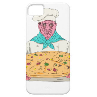 Zombie-Koch, der Pizza-Torten-Schmutz-Kunst hält Barely There iPhone 5 Hülle