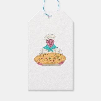 Zombie-Koch, der Pizza-Torten-Schmutz-Kunst hält Geschenkanhänger