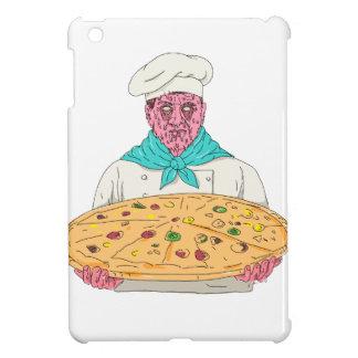 Zombie-Koch, der Pizza-Torten-Schmutz-Kunst hält iPad Mini Hülle