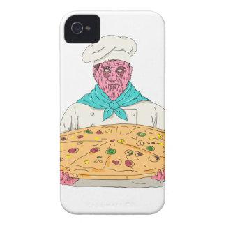 Zombie-Koch, der Pizza-Torten-Schmutz-Kunst hält iPhone 4 Hülle