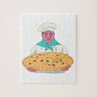 Zombie-Koch, der Pizza-Torten-Schmutz-Kunst hält Puzzle
