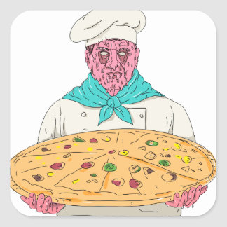 Zombie-Koch, der Pizza-Torten-Schmutz-Kunst hält Quadratischer Aufkleber