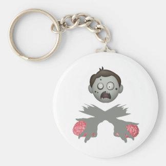 Zombie-Kopf gekreuzte Arme u. Gehirne Schlüsselanhänger