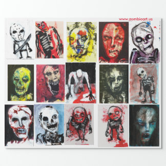 """Zombie-Kunst-MattPackpapier, 30"""" x 6' Geschenkpapier"""
