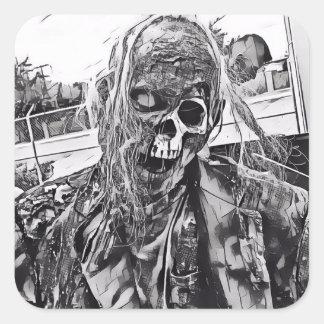 Zombie-Kunst Quadratischer Aufkleber
