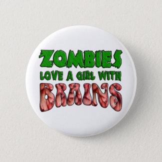 Zombie-Liebe ein Mädchen mit Gehirnen Runder Button 5,1 Cm
