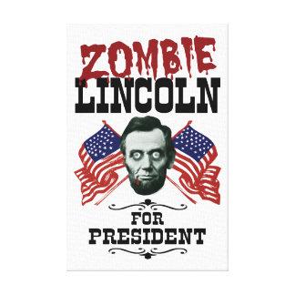 Zombie Lincoln für Präsidenten - lustige Wahl Leinwanddruck