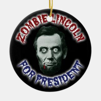 Zombie Lincoln für Präsidenten - lustige Wahl Rundes Keramik Ornament
