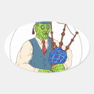 Zombie-Pfeifer, der Dudelsack-Schmutz-Kunst spielt Ovaler Aufkleber