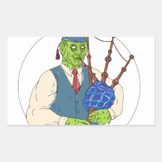 Zombie-Pfeifer, der Dudelsack-Schmutz-Kunst spielt Rechteckiger Aufkleber