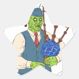Zombie-Pfeifer, der Dudelsack-Schmutz-Kunst spielt Stern-Aufkleber