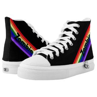 Zombie-Retro Regenbogen-Schwarz-Zunge Hightops Hoch-geschnittene Sneaker