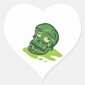 Zombie-Schädel Herz-Aufkleber