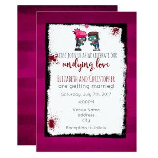 Zombie-Thema-Hochzeit - Zombie-Paar-Illustration 12,7 X 17,8 Cm Einladungskarte