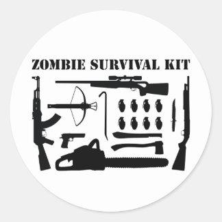Zombie-Überlebensausrüstung Runder Aufkleber