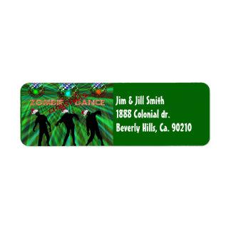 Zombie-Weihnachtsdisco-Tanz Rücksende Aufkleber