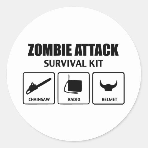 Zombieangriffs-Überlebensausrüstung Runder Sticker