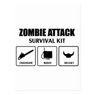 Zombieangriffs-Überlebensausrüstung Postkarte