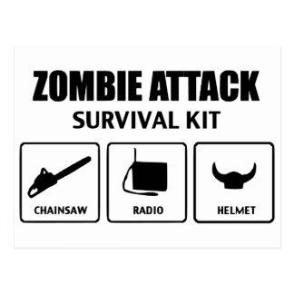 Zombieangriffs-Überlebensausrüstung Postkarten