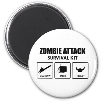 Zombieangriffs-Überlebensausrüstung Runder Magnet 5,1 Cm