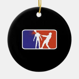 Zombiebaseball Rundes Keramik Ornament