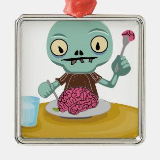 Zombiekind, das Gehirn isst Silbernes Ornament