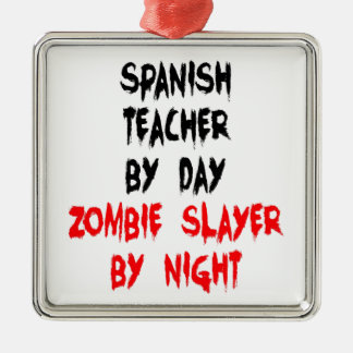 Zombieslayer-Spanisch-Lehrer Silbernes Ornament