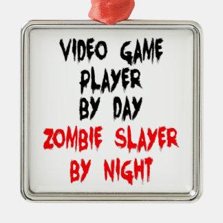 Zombieslayer-Videospiel-Spieler Quadratisches Silberfarbenes Ornament