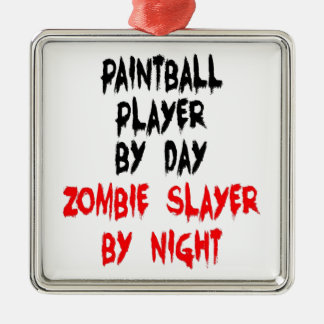 ZombieSlayerpaintball-Spieler Silbernes Ornament