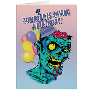 Zombody hat eine Geburtstags-Zombie-Karte mit Ball Karte