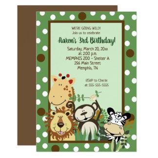 Zoo-Crew-Dschungel-Tier-Geburtstags-Einladung Karte