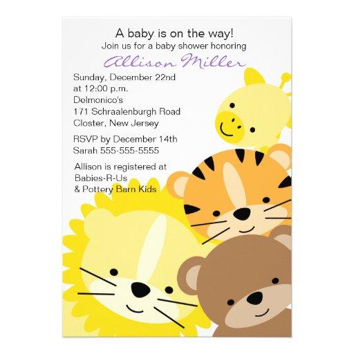 zoo tier babyparty einladung 12 7 x 17 8 cm einladungskarte zazzle. Black Bedroom Furniture Sets. Home Design Ideas