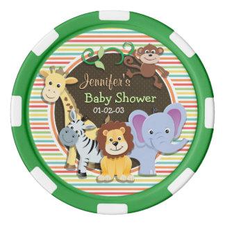 Zoo-Tier-Babyparty, helle Regenbogen-Streifen Poker Jetons