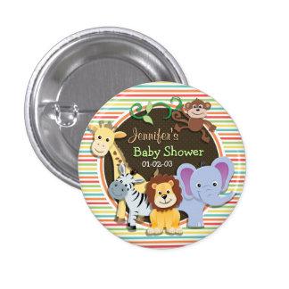 Zoo-Tier-Babyparty, helle Regenbogen-Streifen Runder Button 2,5 Cm