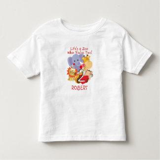 Zoo-Tier-fertigten 2. Geburtstags-Kinder T - Shirt