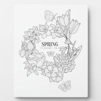 Zorn der Frühlings-Blumen-Hand gezeichnet Fotoplatte
