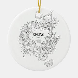 Zorn der Frühlings-Blumen-Hand gezeichnet Keramik Ornament
